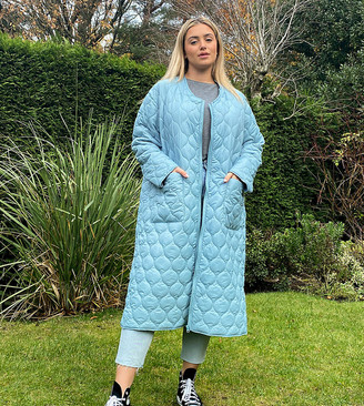 Native Youth Plus oversized long line coat in quilting