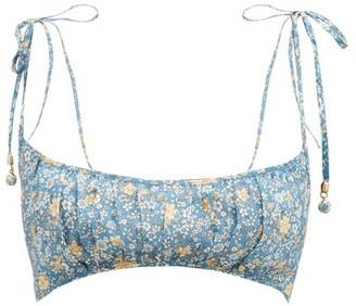 Zimmermann Carnaby Gathered Floral-print Linen Bralette - Blue Print