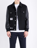 McQ by Alexander McQueen Graphic-print denim and leather jacket