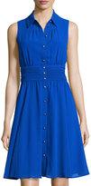 Karl Lagerfeld Sleeveless Chiffon Shirtdress, Cobalt