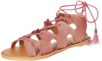 Qupid Women's lace up Sandal Flat