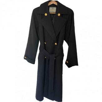 Aquascutum London Blue Wool Trench Coat for Women Vintage