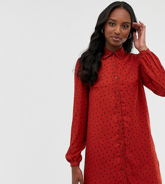 Fashion Union Tall shirt dress in spot-Red