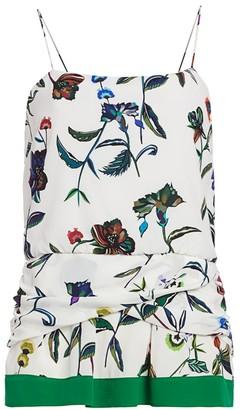 Derek Lam 10 Crosby Twist-Detail Floral Silk Camisole