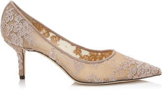 Jimmy Choo LOVE 65 Ballet Pink Floral Lace Pointy Toe Pumps