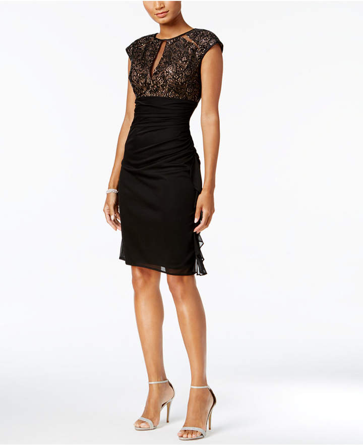 Betsy & Adam Ruched Lace Sheath Dress
