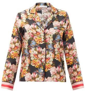 Borgo de Nor Eden Crystal-button Floral-print Silk Blouse - Black Multi