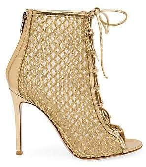 Gianvito Rossi Women's Helena Lace-Up Mesh Leather Booties