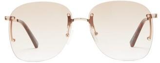 Le Specs Skyline Square Metal Sunglasses - Womens - Brown