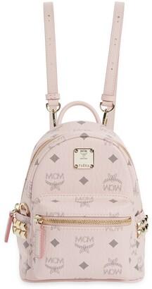 MCM Mini Stark Stud Coated Canvas Backpack