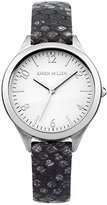 Karen Millen Women's Quartz Watch with Silver Dial Analogue Display and Black Leather Strap KM150B