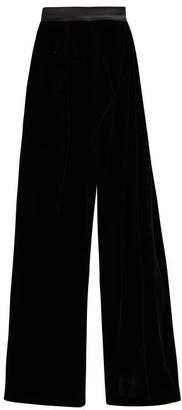 Vika Gazinskaya High-rise Wrap-front Wide-leg Velvet Trousers - Black