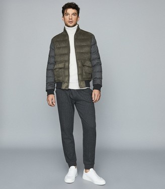 Reiss Pugba - Quilted Jacket With Contrast Sleeves in Khaki