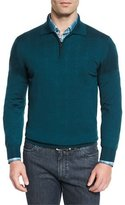 Brioni Cashmere-Silk Quarter-Zip Polo Sweater, Blue