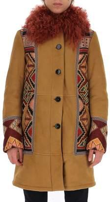 Etro Jacquard Panelled Fur Trim Coat
