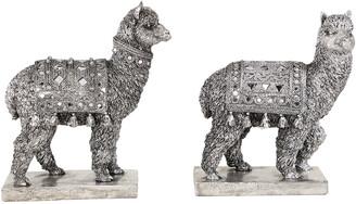 Uma Enterprises Uma Set Of 2 Textured Resin Decorative Metallic Silver Llama Statues