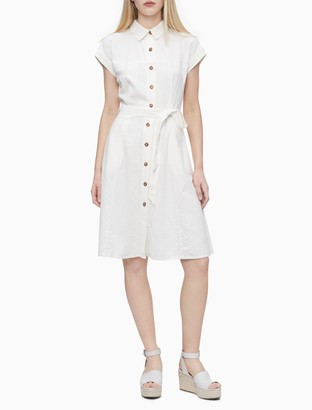 Calvin Klein Solid Linen Blend Button-Down Shirt Dress