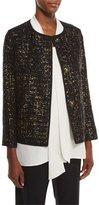 Lafayette 148 New York Holland Collarless Bracelet-Sleeve Tweed Jacket, Black Multi