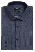 HUGO BOSS Dobby Patchwork Cotton Dress Shirt, Slim Fit Jenno 15.5Blue