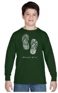 LA Pop Art Boy's Word Art Long Sleeve T-Shirt - Beach Bum