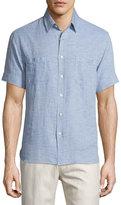 Billy Reid Textured Short-Sleeve Shirt, Blue