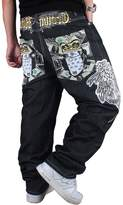 QIBOE Men's Vintage Hip Hop Wings Embroidery Baggy Loose Fit Jeans-40