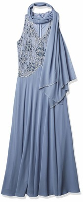 J Kara Women's Petite Long Sleeveless V-Neck Beaded Dress with Scarf