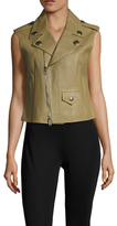 Givenchy Leather Embellished Button Asymmetrical Zip Jacket