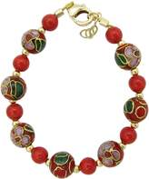Crystal Dream Spring Red Simulated Pearl with Cloisonne bead luxury gold keepsake baby girl bracelet (B1705_S+)