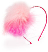 Bari Lynn Rhinestone & Fox Fur Headband, Pink