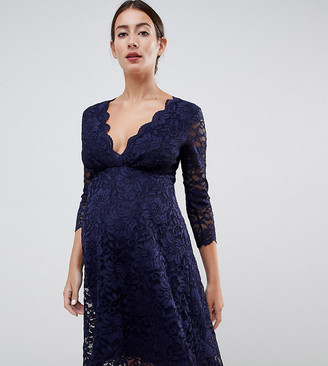 Flounce London Maternity lace prom dress with 3/4 sleeve in navy