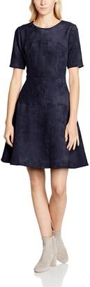 Yumi Women's Suedette Panelled Skater Plain Short Sleeve Dress