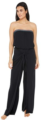 La Blanca Macrame Solids Strapless Jumpsuit with Flyaway Pants Cover-Up (Black Moon) Women's Jumpsuit & Rompers One Piece