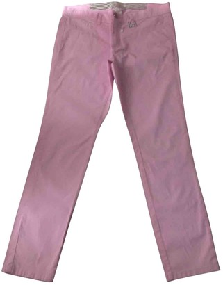Marella Pink Cotton Trousers for Women