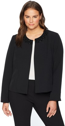 Kasper Women's Plus Fly Away JKT with Embellished Collar Detail