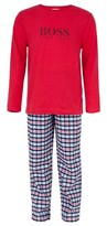 BOSS Giftboxed Pyjama Set with Red Tee and Checked Trouser