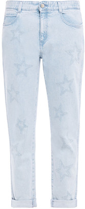 Stella McCartney Cropped Embroidered High-rise Straight-leg Jeans