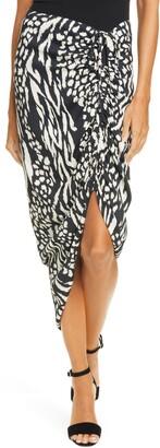 Veronica Beard Ari Mixed Animal Print Midi Skirt