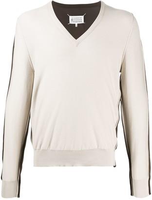 Maison Margiela Spliced V-neck jumper