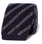 Tom Ford 7.5cm Striped Knitted Cashmere Tie - Navy