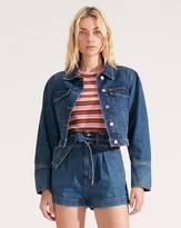 Veronica Beard Denim Pouf-Sleeved Jacket