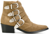 Toga Pulla buckle strap boots - women - Leather/Suede - 36