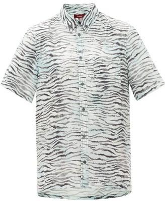 Sies Marjan Rooney Tiger-print Silk-twill Shirt - Light Blue