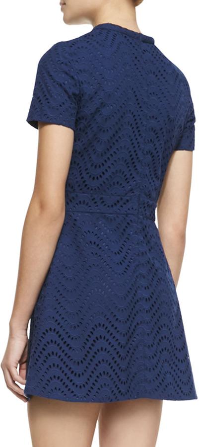 Victoria Beckham Denim Wavy Eyelet Short-Sleeve Dress