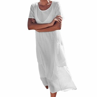 Saihui Women Dress Women Cotton Linen Maxi Dress Plus Size Clothing Summer Long Gown Kaftans Short Sleeve Vintage Loose Casual Plain Dresses with Side Pockets (White - A