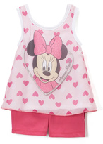 Children's Apparel Network Pink & White Minnie Mouse Hearts Tank & Shorts - Girls