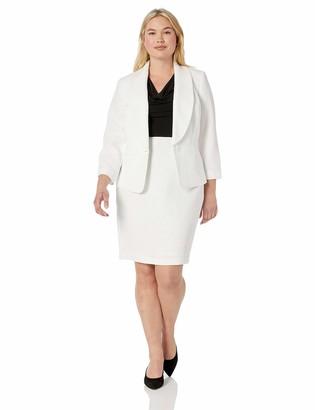 Le Suit LeSuit Women's Size Plus Textured 1 Button Shawl Collar Jacket Skirt Suit