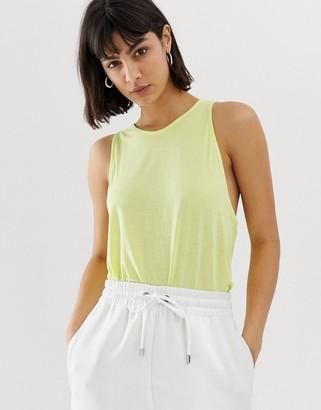 Weekday Trino lime tank vest-Yellow