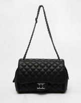 Marc B Quilted Shoulder Bag in Black with Pewter Metal Detail
