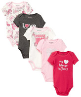 Juicy Couture My Heart Belongs To Juicy Bodysuit - Pack of 5 (Baby Girls)